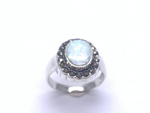 Silver Created Opal and Marcasite Cluster Ring