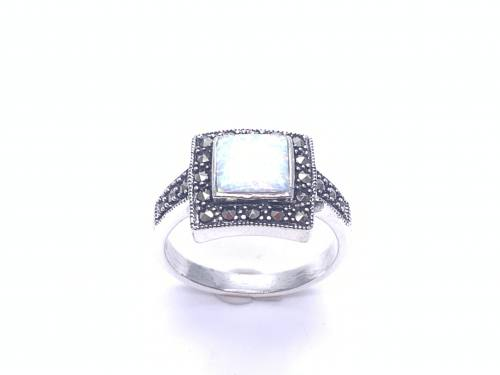 Silver Created Opal and Marcasite Square Ring
