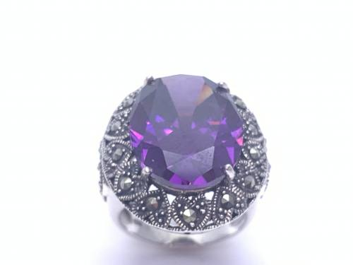 Silver Purple CZ and Marcasite Ring