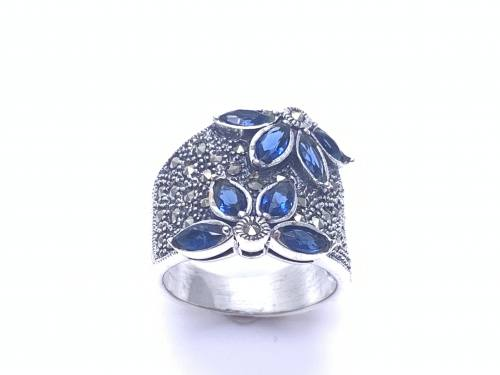 Silver Blue CZ and Marcasite Ring