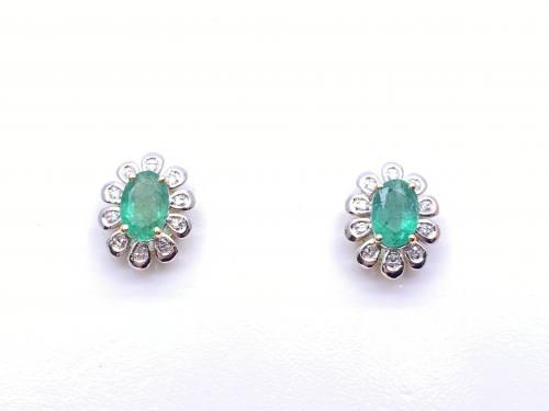 9ct Yellow Gold Emerald & Diamond Cluster Earrings