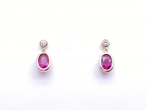 9ct Yellow Gold Ruby and Diamond Drop Earrings