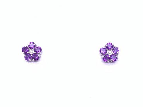 9ct Amethyst and Diamond Cluster Stud Earrings