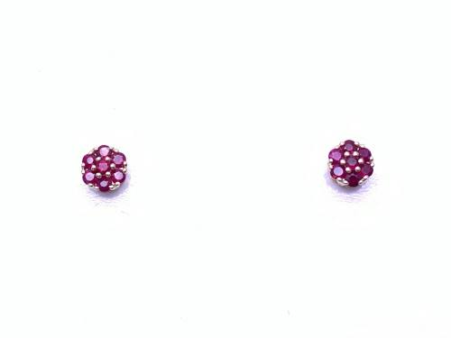9ct Yellow Gold Ruby Cluster Stud Earrings