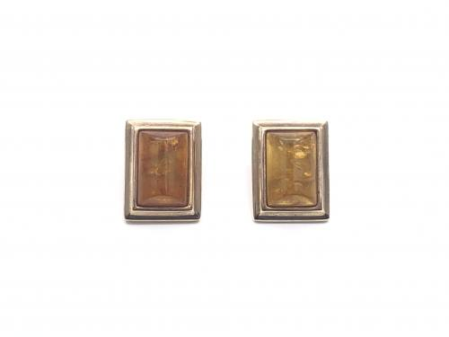 9ct Yellow Gold Rectangular Amber Clip On Earrings