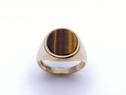 9ct Yellow Gold Tigers Eye Ring