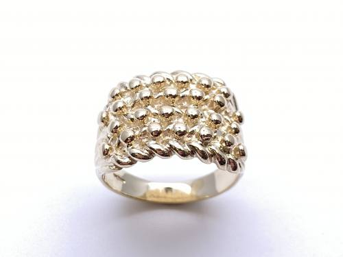 9ct Yellow Gold 4 Row Keeper Ring Z
