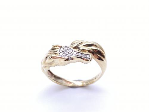 9ct Yellow Gold Diamond Horse Ring