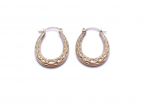 9ct Yellow Gold Celtic Hoop Earrings