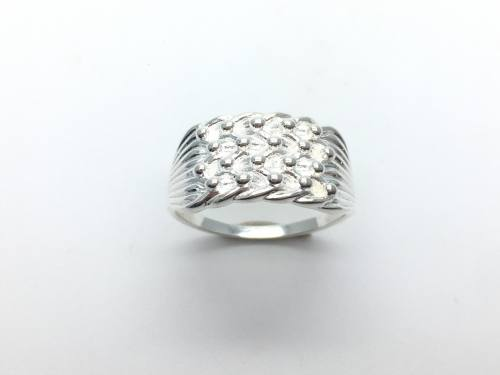 Silver 4 Row Keeper Ring V