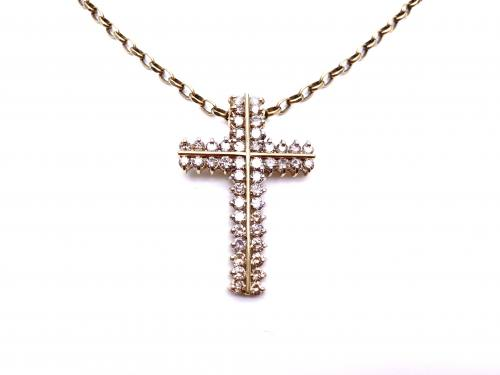 9ct Diamond Cross & Chain App 4.00ct