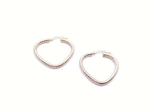 9ct Yellow Gold Patterned Triangle Hoop Earrings