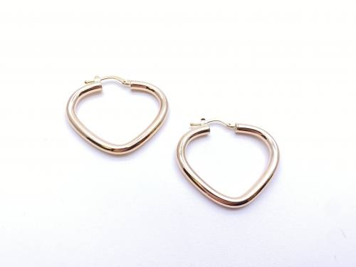 9ct Yellow Gold Plain Triangle Hoop Earrings