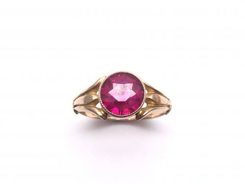 9ct Synthetic Ruby Solitaire Ring