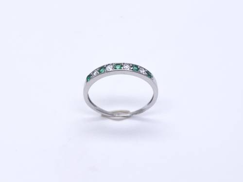 Silver Green & White CZ Eternity Ring Size N