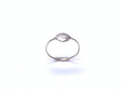 Silver Shell Detail Stacker Ring