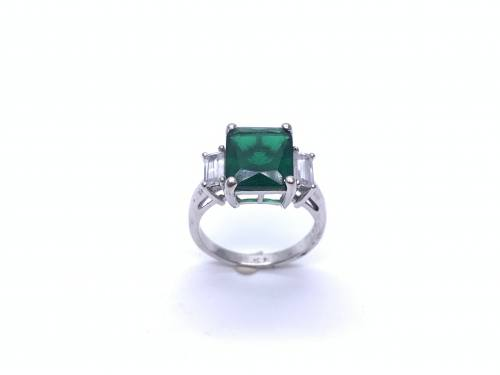 Silver Green & white CZ 3 Stone Ring