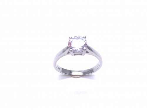 Silver Ladies CZ Solitaire Ring