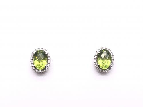 9ct White Gold Peridot & Diamond Cluster Earrings
