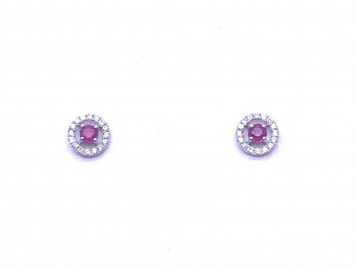 9ct White Gold Ruby and Diamond Earrings 0.10ct