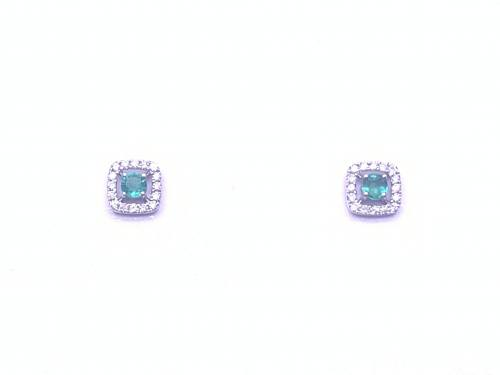 9ct White Gold Emerald & Diamond Earrings 0.10ct