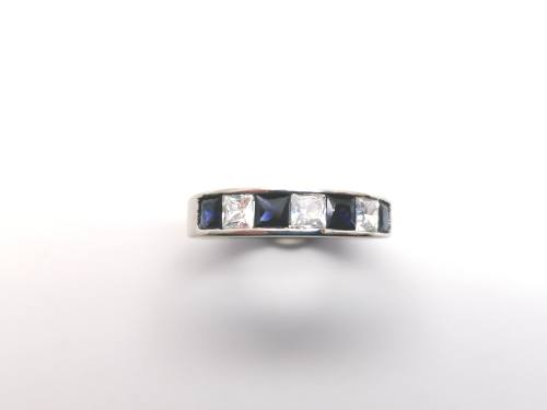 Silver Blue & White CZ Eternity Ring