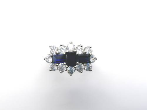 Silver Blue & White CZ Cluster Ring