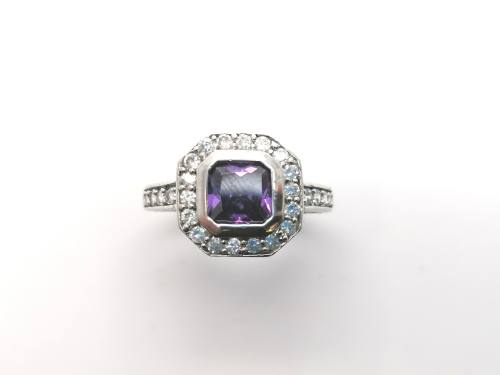 Silver Purple & White CZ Cluster Ring