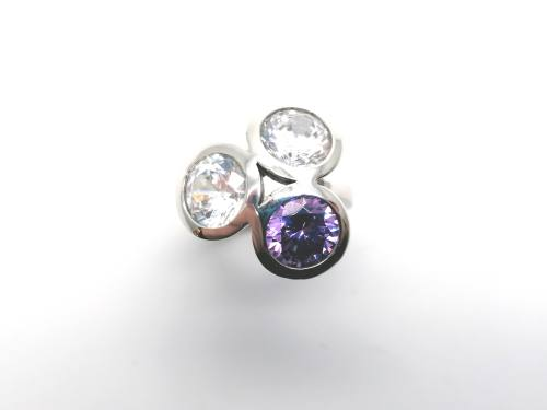 Silver Purple & White CZ 3 Stone Ring