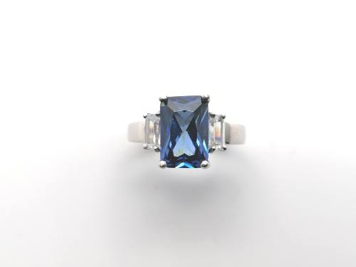 Silver Blue & White CZ Ring