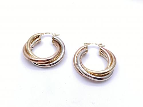 9ct Tri Colour Hoop Earrings