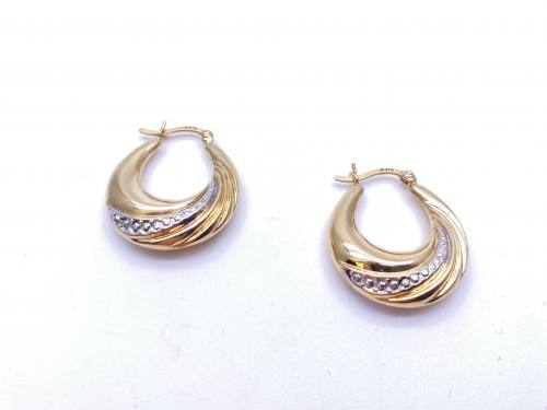9ct Two Colour Hoop Earrings