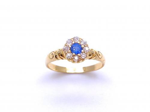 Diamond & Synthetic Sapphire Cluster Ring