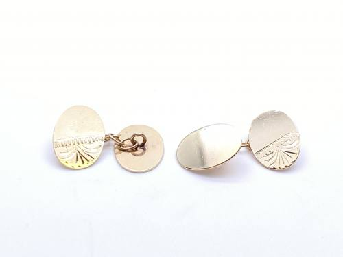9ct Half Engraved Cufflinks