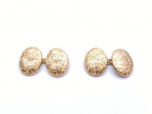 Victorian 9ct Rose Gold Patterned Cufflinks