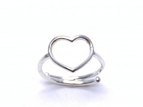 Silver Cut Out Heart Ring Adjustable Size