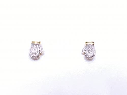9ct Yellow Gold CZ Boxing Glove Stud Earrings