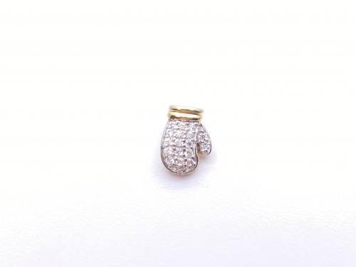 9ct Yellow Gold CZ Boxing Glove Stud Earring