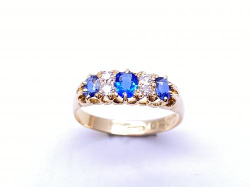 18ct Synthetic Sapphire & Diamond Ring