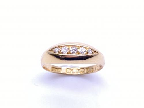 An Old 18ct Yellow Gold Diamond 5 Stone Ring