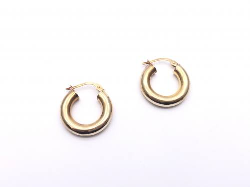 9ct Yellow Gold Plain Hoop Earrings