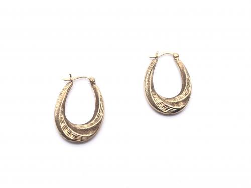 9ct Patterned Oval Hoop Earrings