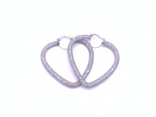 9ct White Gold CZ Filled Heart Hoops Earrings