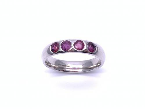 9ct White Gold Ruby 4 Stone Ring
