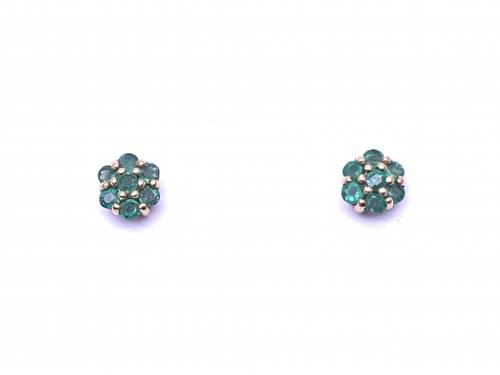 9ct Emerald Cluster Earrings