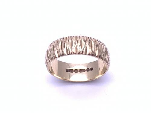 9ct Yellow Gold Bark Effect Band