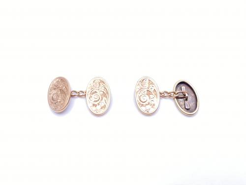 9ct Rose Gold Engraved Cufflinks 1904
