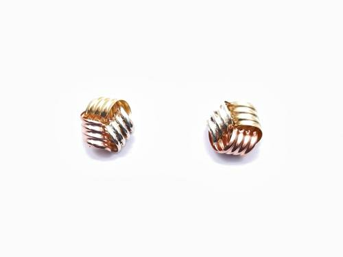 9ct 3 Colour Gold Knot Stud Earrings