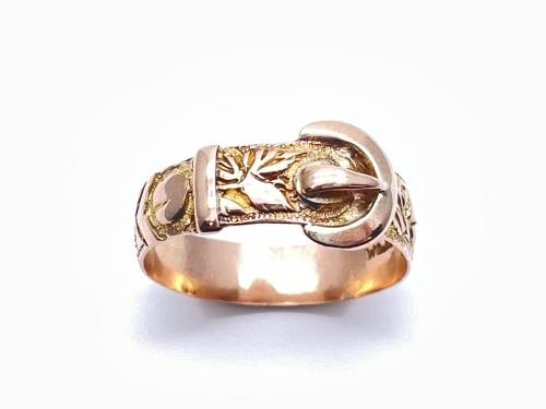 9ct Rose Gold Buckle Ring Birmingham 1918