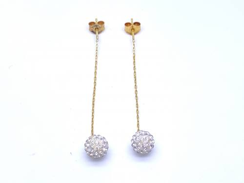 9ct Yellow Gold Crystal Drop Earrings
